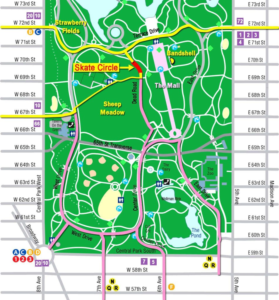 Map to Skate Circle in Central Park